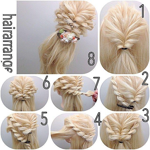 ピンなしでok✨✨ 簡単hairarrange ゴム3つ 1 高めの位置でくるりんぱします! 2 顔まわりの残りをロープ編みします。ピンなどで留めておきます。 3 両サイドロープ編みしたら くるりんぱの下でゴムで留めます。 4 パネルの幅はこんな感じです! 5 両サイドをロープ編みします! 6 またまたロープ編みの下でゴムで留めます。 7 耳後ろをまたロープ編みします! 8 両サイドロープ編みします!かさあとはゴムね留めて完成です(=ω)ノ #nico#hairarrange#撮影#ヘアスタイル#スタイル#美容室 #ヘアアレンジ#アップスタイル #アレンジ#アップスタイル #ニコ#結婚式#結婚式アップ#オシャレ#ヘアセット#くるりんぱ#アレンジ解説#ヘアアレンジ解説#ヘアアレンジnico