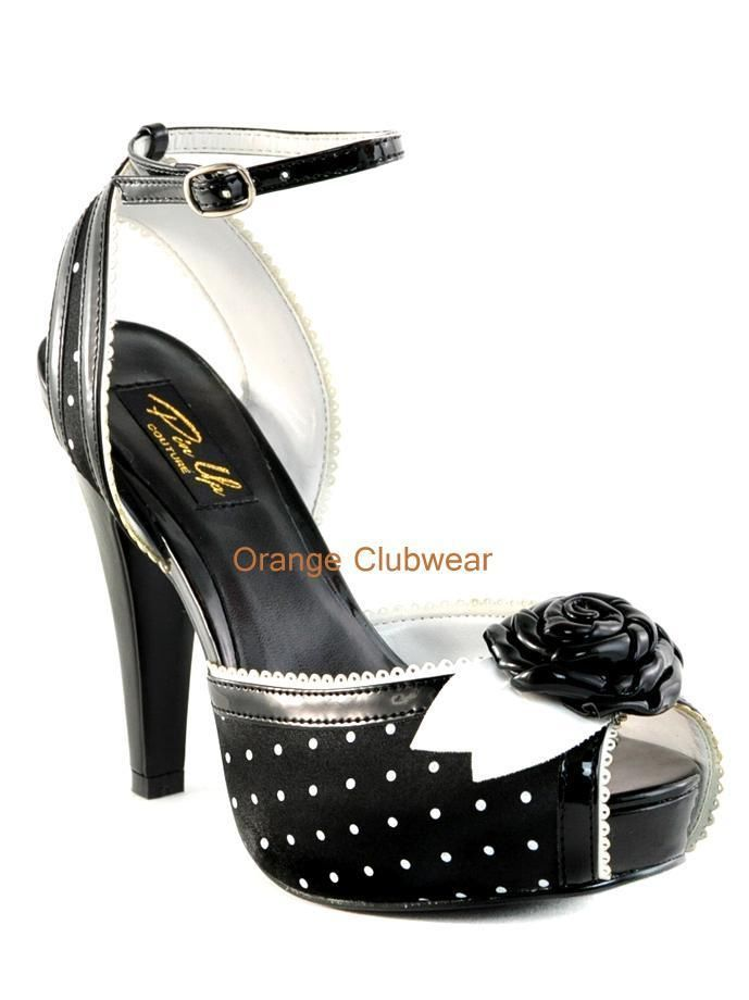 PINUP Womens Rockabilly Vintage Retro Look Polka Dot Satin High Heels Shoes #Pleaser #PumpsClassics