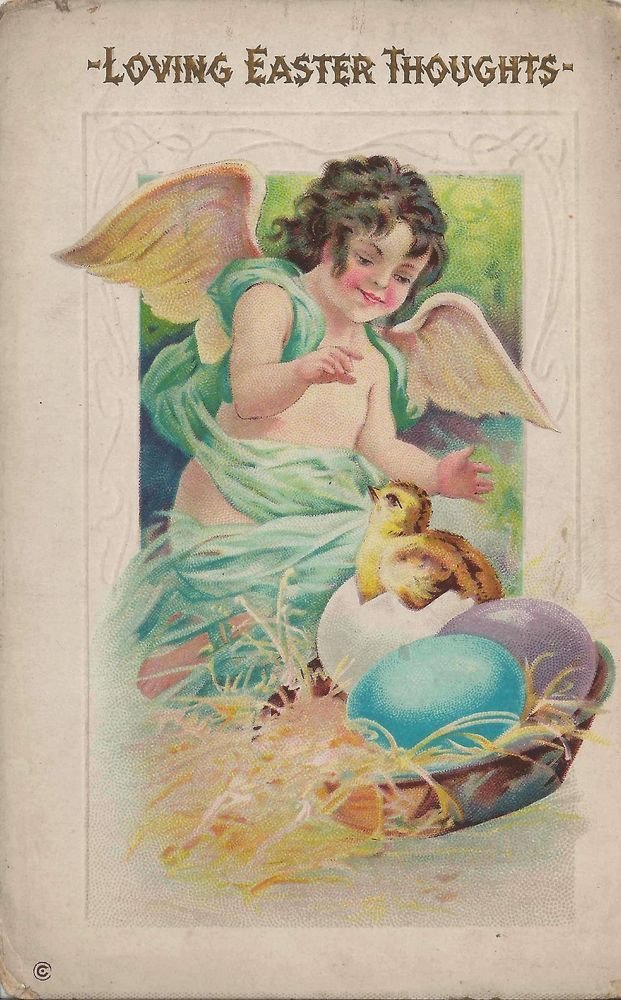1913 Easter Postcard Loving Easter Wishes With Charming Little Angel Cherub #Easter