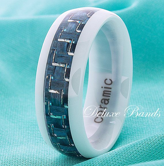 White Ceramic Wedding Ring Turquoise Carbon Fiber Inlay