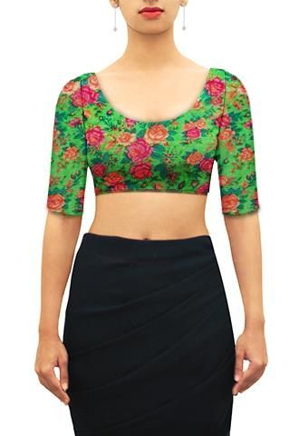Floral print on kota silk U neck blouse.