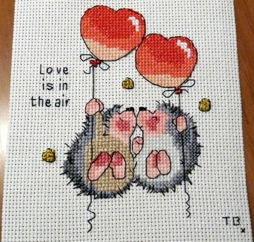 Cross stitch hedgehogs in love