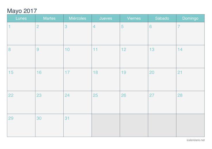 Resultado de imagen para formato de calendario mayo  2017 de actividades mensual
