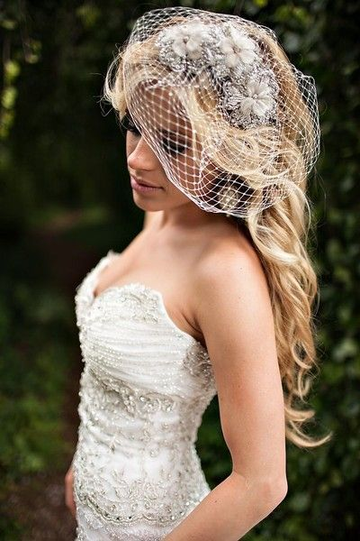 Hair - with birdcage veil.