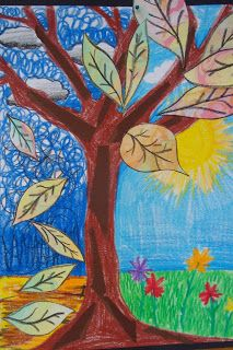 Once upon an Art Room: Seasonal Trees with Marbled Leaves