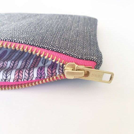 Ecofriendly zip purse Navy Organic Hemp and purse by ElizaElizaUK