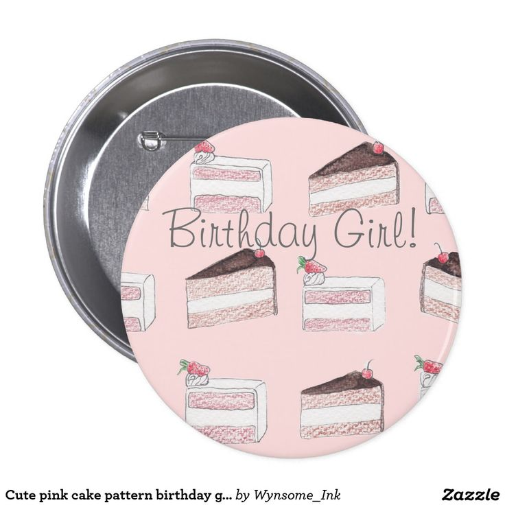 Cute pink cake pattern birthday girl pin