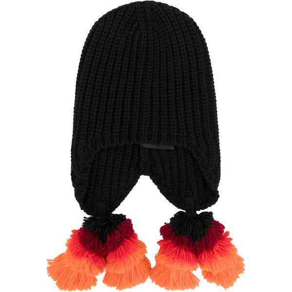 Gucci ribbed knit beanie ($680) ❤ liked on Polyvore featuring men's fashion, men's accessories, men's hats, black, gucci mens hat, mens beanie hats and mens pom pom hat