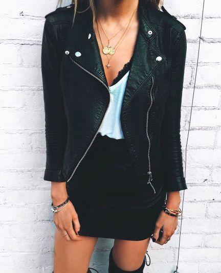 moto jacket + mini skirt + otk boots