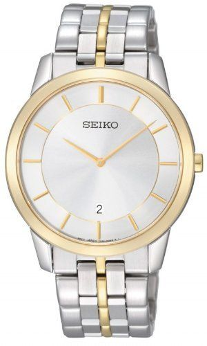 Seiko Men's SKP382 Two-tone stainless steel Watch Seiko. Save 58 Off!. $189.00. Case diameter: 38 mm. Water-resistant to 50 meters(165 feet). Quartz movement. Hardlex. Stainless steel case