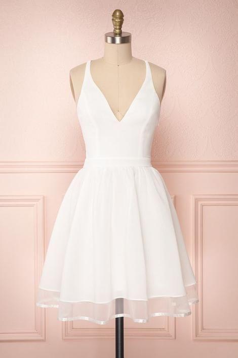 Vestido de baile branco, vestido de festa curto S50   – Nähen und Designen
