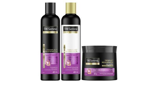 Kit de reparação para cabelos extremamente danificados. Reforça a estrutura capilar e dá mais resistência. em 2021 | Produtos de beleza, Trio, Shampoo e condicionador