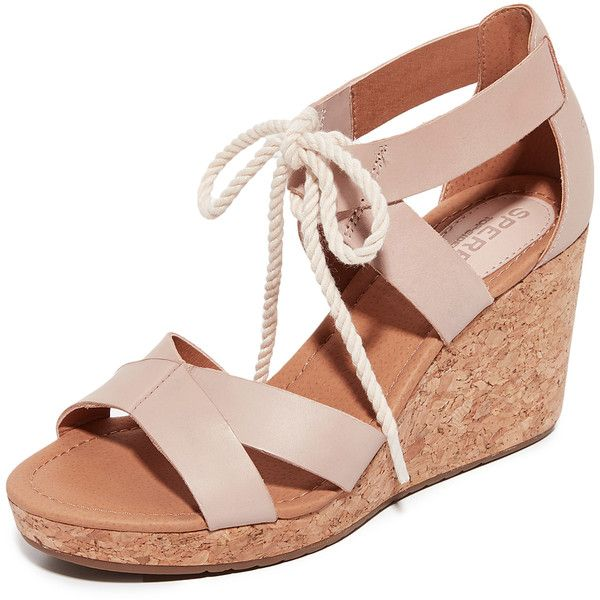 Sperry Dawn Ari Wedge Sandals (122 AUD) ❤ liked on Polyvore featuring shoes, sandals, blush, leather sandals, sperry shoes, wide shoes, wide width wedge sandals and platform sandals
