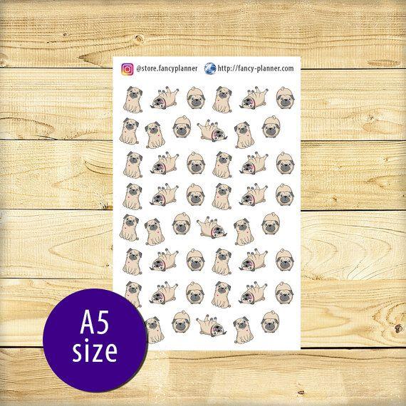 A5-020 Pug cute stickers A5 binder planner от StoreFancyplanner