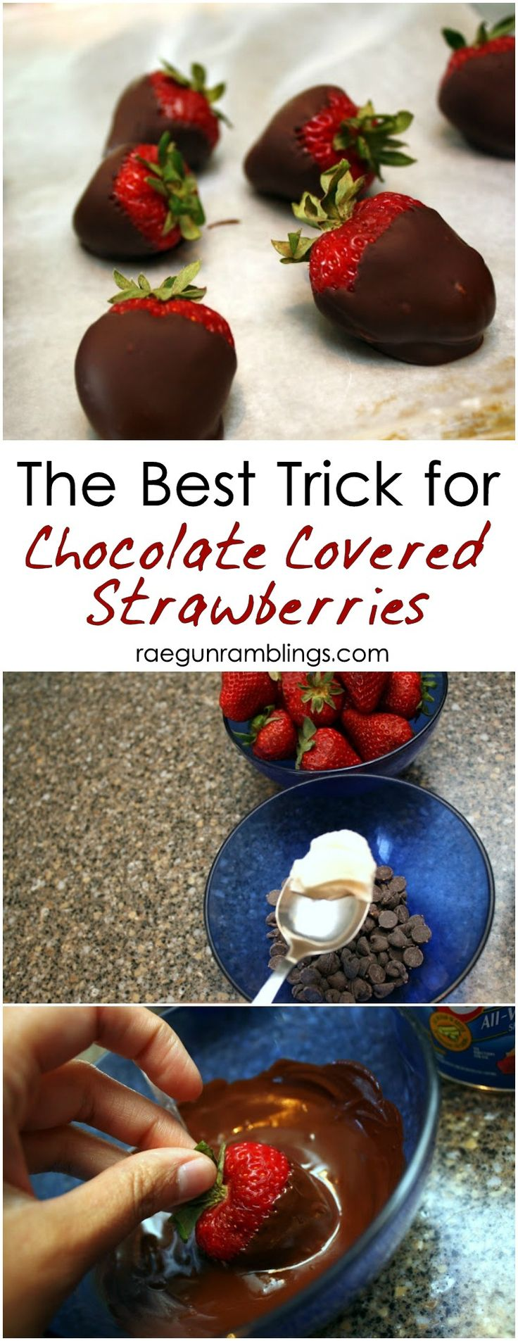 Hands down the best trick to making perfect chocolate covered strawberries - add a tsp of crisco to the chocolate chips