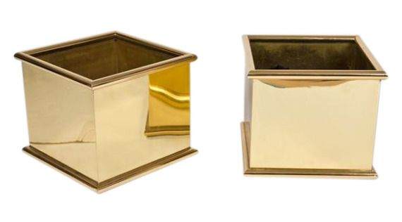 Brass Rolled Edge Planters - Dering Hall