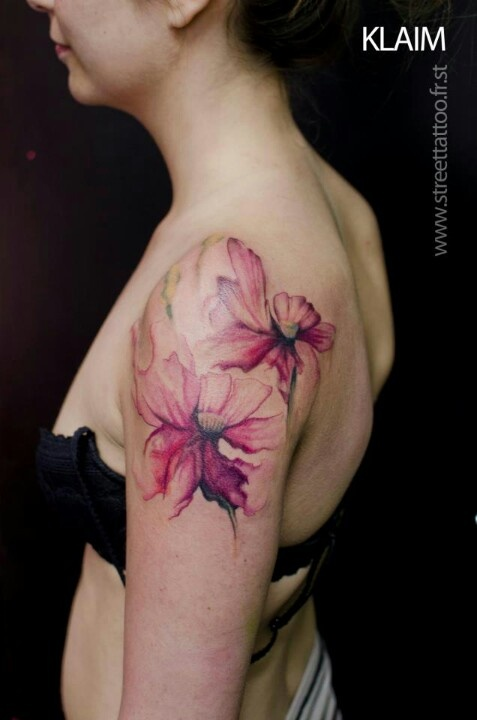 Water colour flowers tattoo