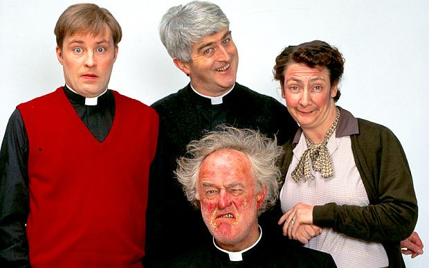 """The cast of Channel Four's famous '90s Irish sitcom """"Father Ted"""". Actor Dermot Morgan (top middle) died in 1998 and actor Frank Kelly (bottom front) died, age 77, in February 2016."""