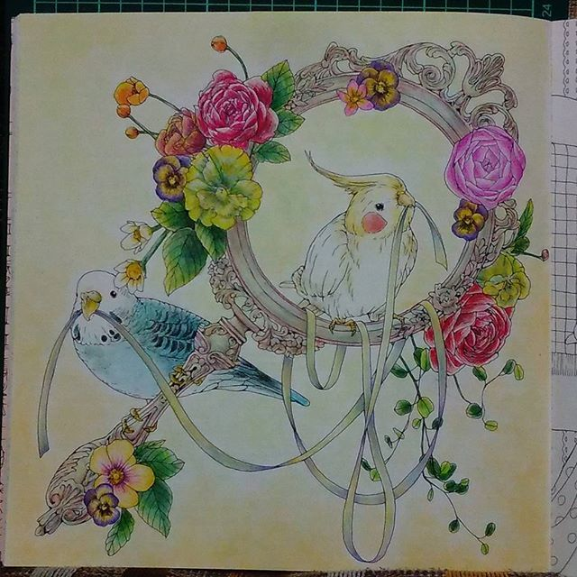 『幸せのメヌエット』の1枚目。 セキセイインコをラムちゃん色に塗ってみたくてやってみたけれど。。。 なかなか思うようにはいきませぬな😛💦 #大人の塗り絵 #おとなのぬりえ  #コロリアージュ #coloring  #coloriage #adultcoloring  #adultcoloringbook #coloringbook  #coloringbookforadults  #coloringbooksforgrownups  #幸せのメヌエット #江種鹿乃子