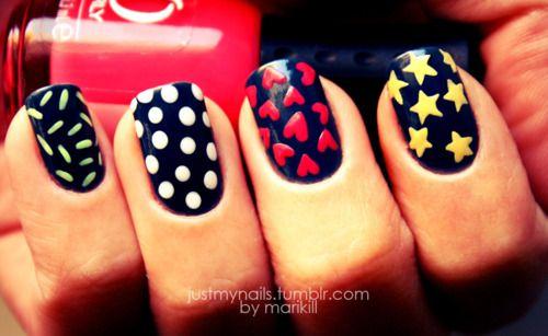 Polka Dots, Nails Art, Pattern, Nailart, Cute Nails, Nails Design, Stars, Diy Tutorials, Colors Nails
