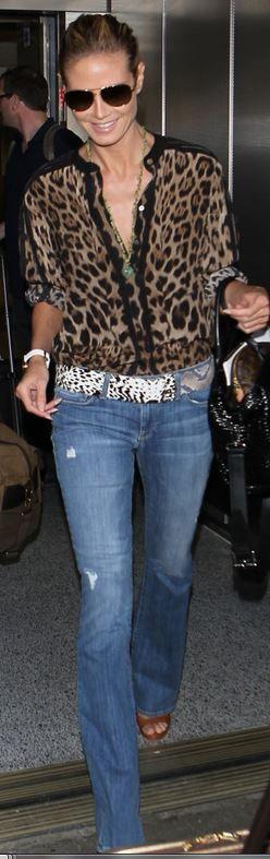 Heidi Klum: Purse – Louis Vuitton  Jeans – Genetic Denim  Shirt – Dolce & Gabbana