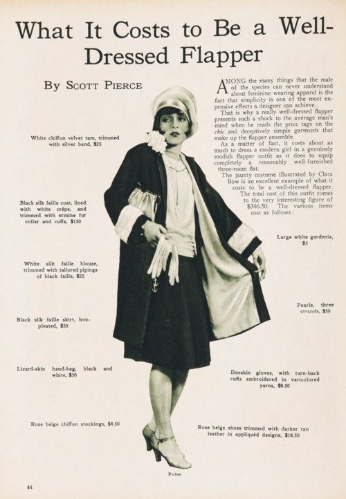 The cost of  being a well dressed flapper is 346.00 dollars in 1926, equivalent to 4,414.00 dollars today.
