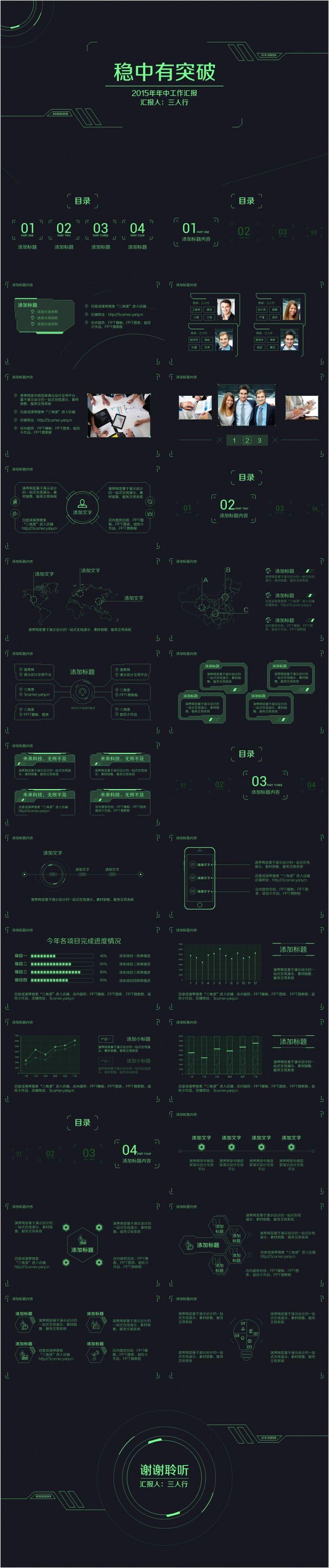 "powerpoint template 【时光之""绿""】未来科技UI风格汇报模板"