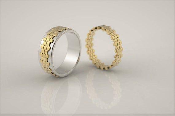 Wizard of oz wedding ring set, yellow bricks road, fantasy wedding ring, geek wedding ring, alternative wedding band, unique wedding ring