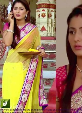 Yellow And Pink Patch Border Bollywood Saree http://www.angelnx.com/Sarees/Bollywood-Sarees