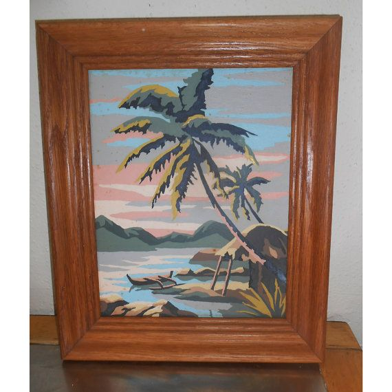reduced Vintage Paint by Number Tropical Scene by Whatthatolethang, $19.99