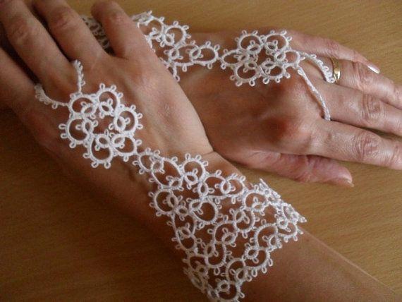 Люкс Пара вязаные ведомых Браслеты - Фриволите кружева белые перчатки, белый браслет Fingerless