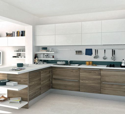 wood effect melamine on the cupboards