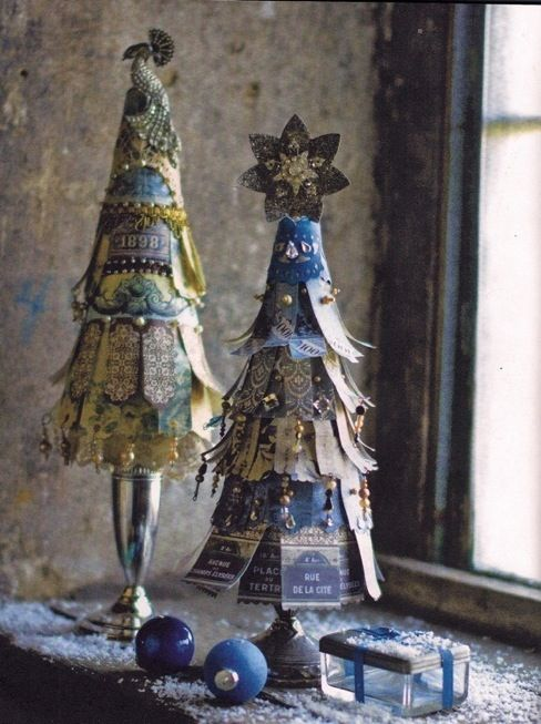 """""""Love Love Love these little trees  made from paper and beads on a candlestick base!"""" by Dishfunctional Designs: A Beautiful Bohemian Christmas"""