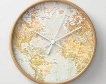 De klok van de muur van de kaart, Pastel klok, wereldkaart, wereld illustraties, Pastel kleur Wall Decor, Pastel kunst, wereld, wereldkunst, kunst aan de muur, Home Decor