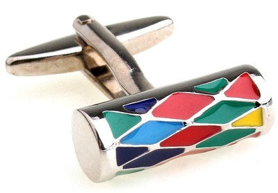 Beautiful colourful mens stainless steel cufflinks cuff links.