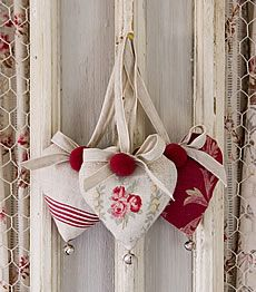 hearts made with vintage fabric- with jingle bells on the end - filled with lavendar...mmmmmm!