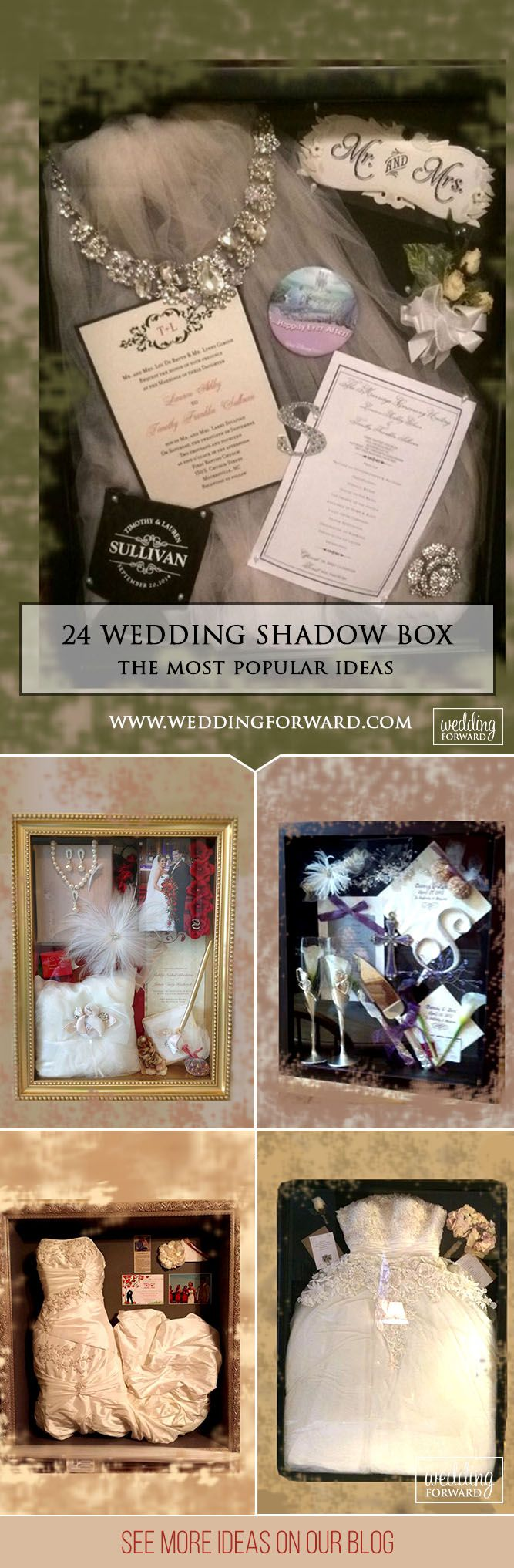 The Wedding Shadow Box Or How To Keep Your Memories ❤ A small box that holds the most wonderful memories of a special day. Many brides make it by yourself and gather in a wedding shadow box bouquet, a dress. See more: http://www.weddingforward.com/wedding-shadow-box/ ‎#wedding #decorations