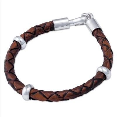 Men's Leather Sterling Silver Braided Bracelet – Chankas Warrior in Light Br…   – Men
