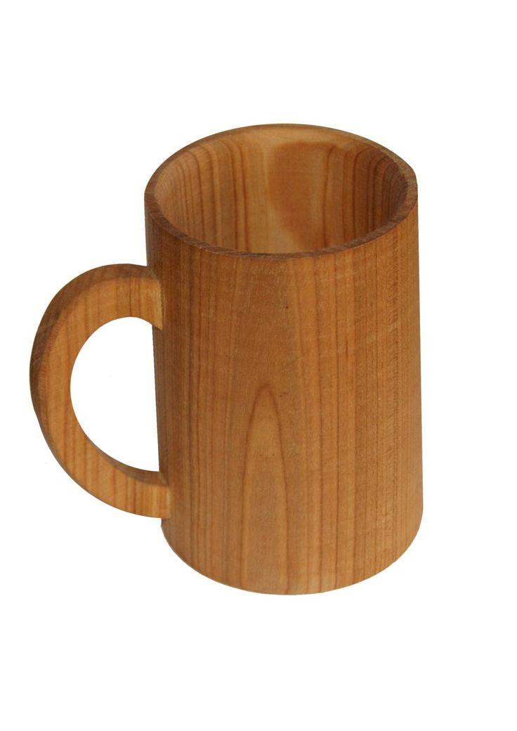 Ekologiczny drewniany kubek-kufel czereśniowy z uchem