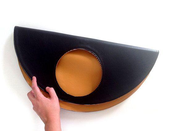 Borsa grande in pelle grande clutch borsa nera del cammello