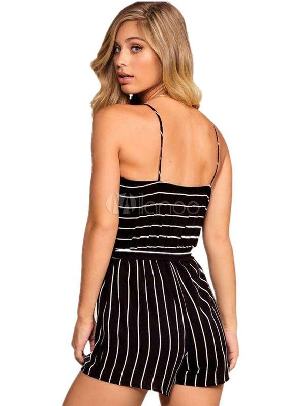 4dbb958ad85 Women Romper Shorts Black Stripes Straps Cotton Playsuit  Shorts ...