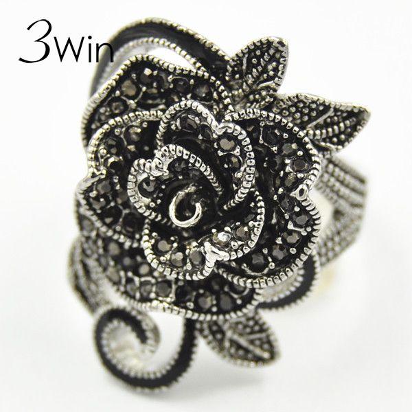 WinWinWin Brand National Restoring Ancient Wind Women Jewelry Antique Silver Creative Black Vintage Rose Flower Rings for Women