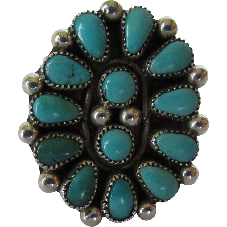 Native American Sterling Silver and Natural Turquoise Cluster Ring