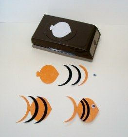 """Punch Art Fish by Linda Sugrue. Use Stampin' Up ornament punch on orange cardstock. Use jumbo oval punch to cut black & orange crescent """"stripes."""" Attach as shown. Add googly eye. So cute!"""