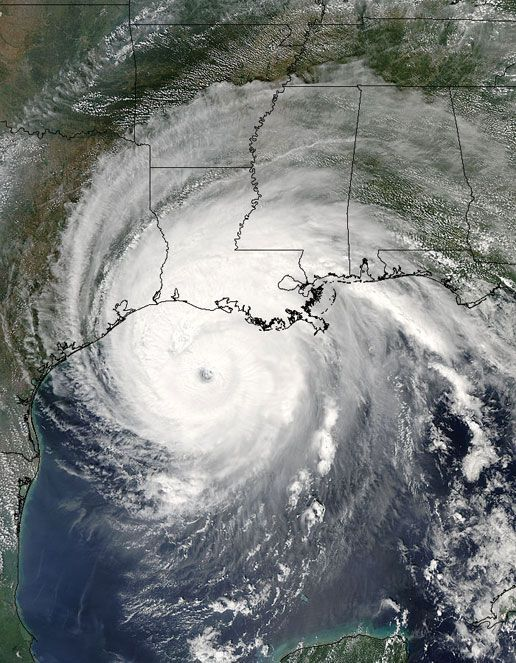 The MODIS instrument on the Aqua satellite captured this image of Hurricane Rita on September 23, 2005.