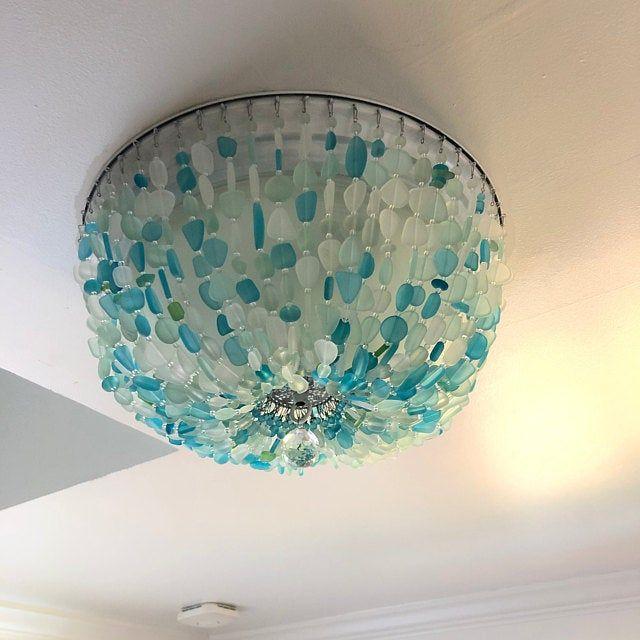 Sea Glass Lighting Fixture Chandelier Beach Cottage Chic Etsy Sea Glass Chandelier Glass Ceiling Lights Glass Chandelier Sea glass light fixtures