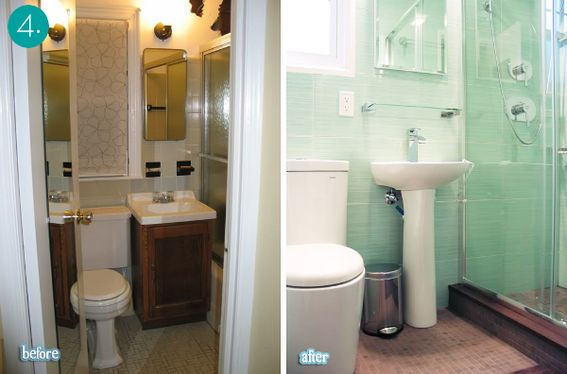 great before&after - the glass shower, tiles, and pedestal sink really open up this tiny space