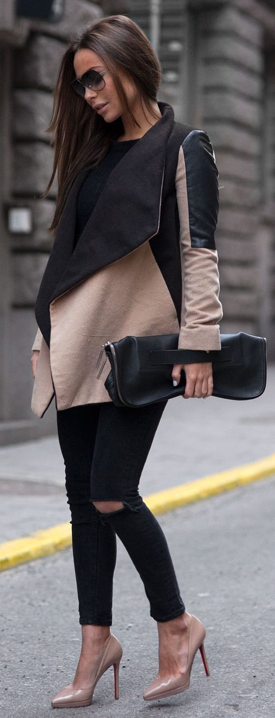 Black And Blush Paneled Wrap Coat + Matching Heels and Ripped Black Skinny Jeans