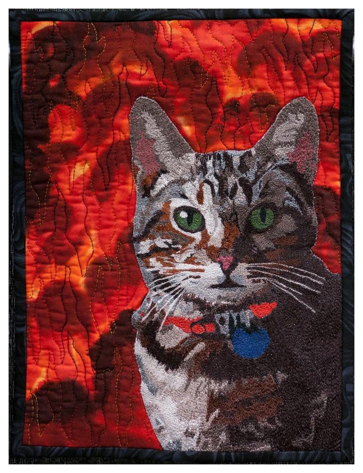 Best machine embroidery, Alikin's Alley Cat by Jodi Scaltreto, 2011 VQF (Vermont Quilt Festival)