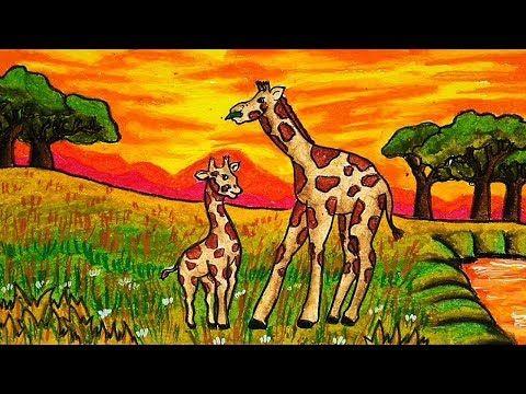 Cara Menggambar Jerapah Pemandangan Padang Rumput Savannah Youtube Jerapah Seni Cara Menggambar